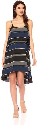 Halston Women's Sleeveless Printed Round Neck Layered Flounce Dress