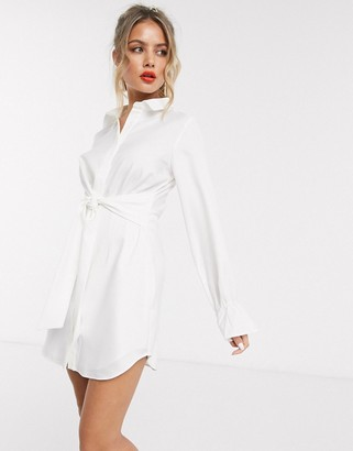 In The Style x Stephsa drape detail shirt dress in white