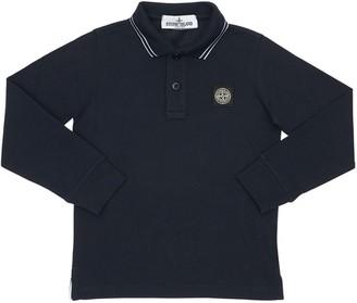 Stone Island L/S Cotton Blend Piquet Polo Shirt