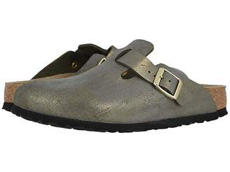 Birkenstock Boston (Washed Metallic Stone Gold Leather) Women's Clog Shoes