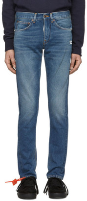 Off-White Off White Blue Diag Slim Jeans