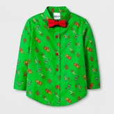 Dr. Seuss Toddler Boys' Dr. Suess The Grinch and Max Button Down Shirt with Bow Tie - Green