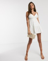 Asos Design DESIGN lace insert cami wrap mini sundress in white