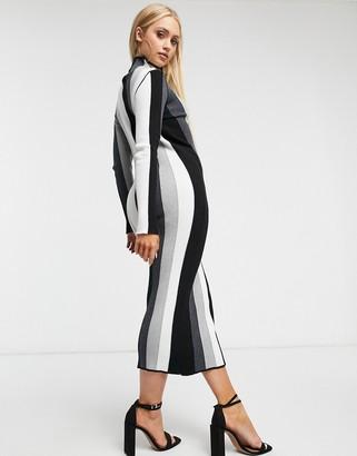 Forever U high neck midi dress in grey stripe