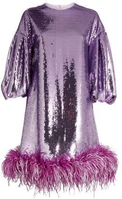 Huishan Zhang Sequinned Feather-Trim Poppy Dress