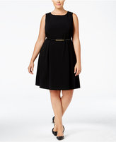 Nine West Plus Size Belted Fit & Flare Dress