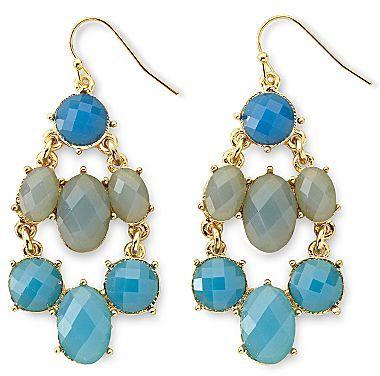 Liz Claiborne Blue Oval Chandelier Earrings