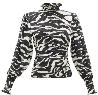 Isabel Marant Fantine Smocked-neck Tiger-print Silk-blend Blouse - Black White