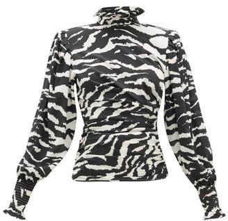 Isabel Marant Fantine Smocked-neck Tiger-print Silk-blend Blouse - Womens - Black White