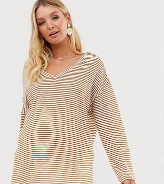ASOS DESIGN Maternity oversized stripe t-shirt with v back and v front