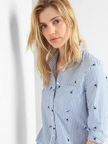 Gap Railroad stripe embroidery fitted boyfriend shirt