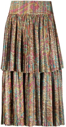 A.N.G.E.L.O. Vintage Cult 1990s Abstract Printed Pleated Skirt