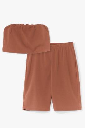 Nasty Gal Womens Hello Friday Bandeau Crop Top and Biker Shorts Set - Camel