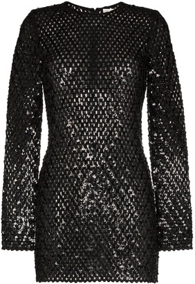 Saint Laurent Sequin Embellished Knitted Mini Dress