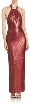 ABS by Allen Schwartz Metallic Halterneck Gown