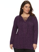 Apt. 9 Plus Size Lace-Up Sweater