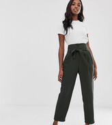 Asos Tall DESIGN Tall tailored tie waist tapered ankle grazer pants