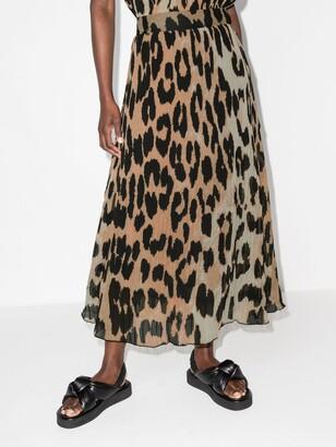 Ganni Neutrals Leopard-Print Georgette Midi Skirt