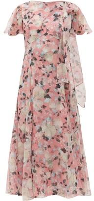 Erdem Kirstie Floral-print Silk-chiffon Midi Dress - Pink Print