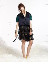 Cynthia Rowley Metallic Rosebud Ruffle Skirt