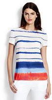 Lands' End Women's Short Sleeve High-Low Tee-Atlantic Blue Stripe