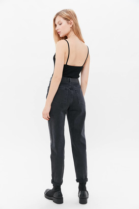 BDG Petite High-Waisted Mom Jean Washed Black Denim