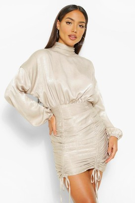 boohoo High Neck Rouched Mini Dress