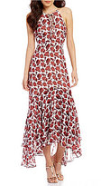 Betsey Johnson Lace Up Floral Maxi Dress