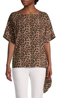MICHAEL Michael Kors Leopard-Print Tie-Hem Top