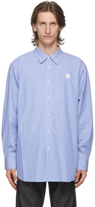 Acne Studios Blue and White Patch Striped Shirt