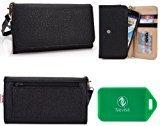 Samsung Galaxy S6 Edge+ (SM-G928A, SM-G928P,SM-G928R,SM-G928T,SM-G928V) Black Wristlet wallet phone holder with Card slots and Coin Pocket