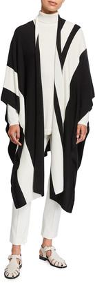 Joan Vass Plus Size Poncho Wrap Sweater