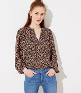 LOFT Floral Shirred Split Neck Blouse