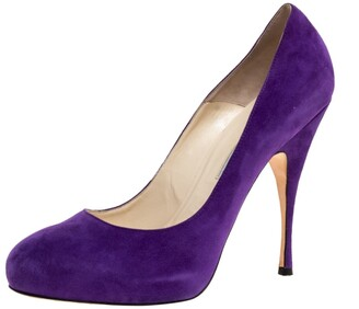 Brian Atwood Purple Suede Hidden Platform Pumps Size 40