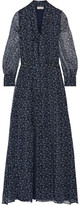Paul & Joe Pussy-bow Printed Silk-crepon Maxi Dress - Navy