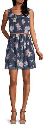 Byer California-Juniors Sleeveless Floral Fit & Flare Dress