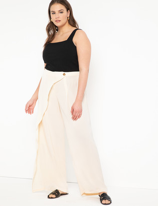 ELOQUII Wide Leg Pant with Overlay