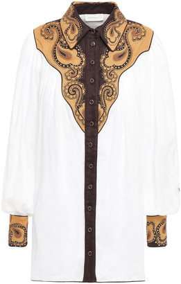 Zimmermann Embellished Canvas And Ramie Shirt