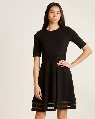 Calvin Klein Black Fit & Flare Illusion Border Dress