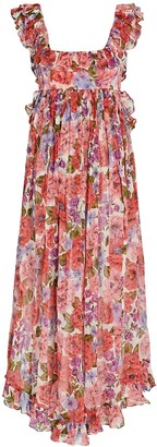 Zimmermann Poppy Floral Silk Midi Dress