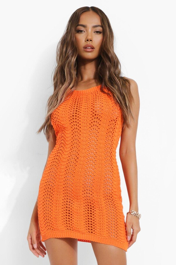 Thumbnail for your product : boohoo Knitted Crochet Halterneck Mini Dress