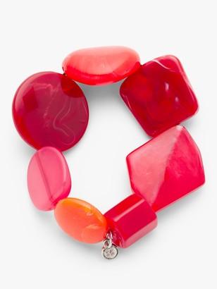 One Button Asymmetric Bead Stretch Bracelet, Crimson