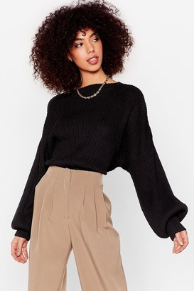 Nasty Gal Womens Rib Takes Time Knitted Balloon Sleeve Sweater - Black