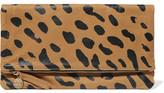 Clare Vivier Fold-Over Leopard-Print Suede Clutch