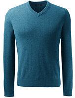 Lands' End Men's Fine Gauge Cashmere V-neck Sweater-Rainbow Stripe