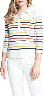Faherty Brand Manta Stripe Print Long Sleeve Polo