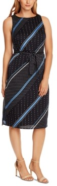 Vince Camuto Printed Belted Dress