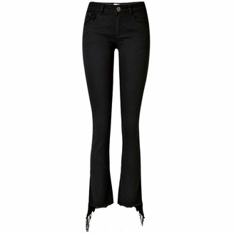 InChengGouFouX Women Sexy Fit Pencil Jeans High Waist Denim Micro Flared Cropped Trousers Ladies Diagonal Fringed Boots Pants High Waisted Skinny Slim (Color : Black Size : 36)