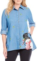 "Berek Frosty"" Button Front Big X-Mas Shirt"