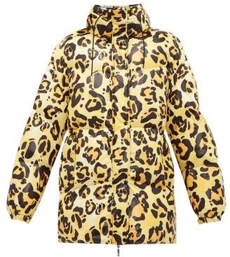Moncler 0 Genius Richard Quinn - Mary Leopard-print Lacquered Coat - Womens - Leopard